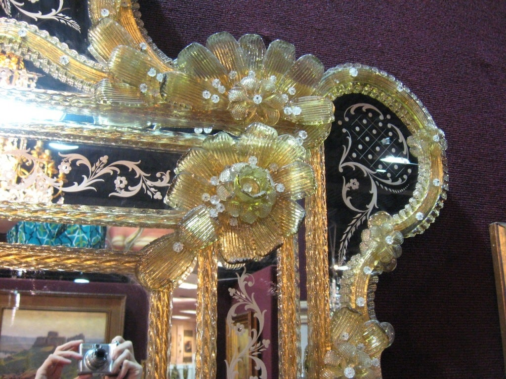 Big Antique Venetian Etched Mirror With Rich Gold Glass