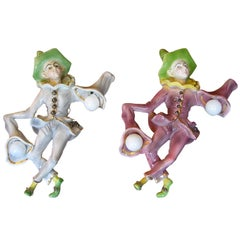 1950s Fun Italian Pulcinella Ceramic Wall Lights