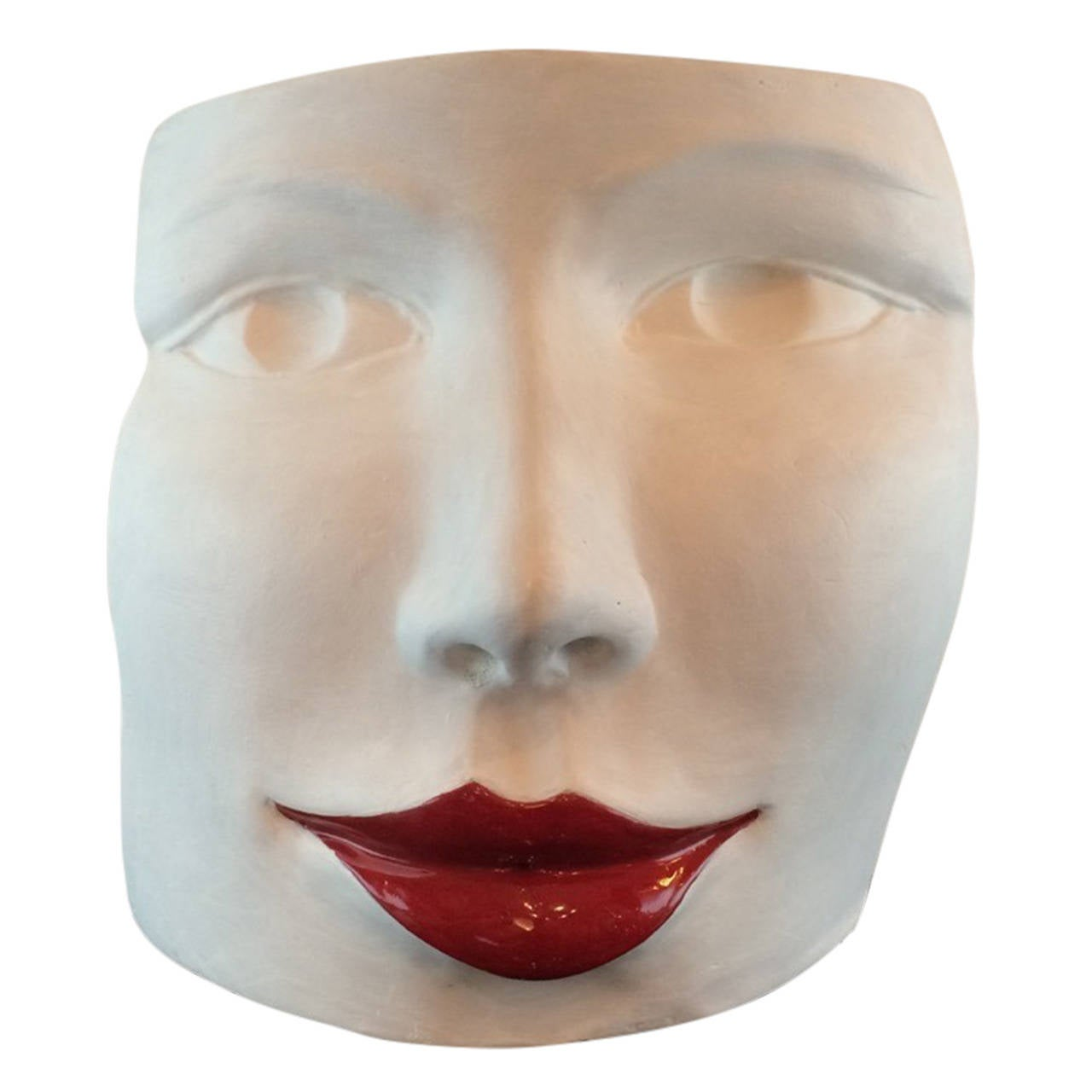"""""""Red Lips Face,"""" Terra Cotta Sculpture by Ginestroni"""