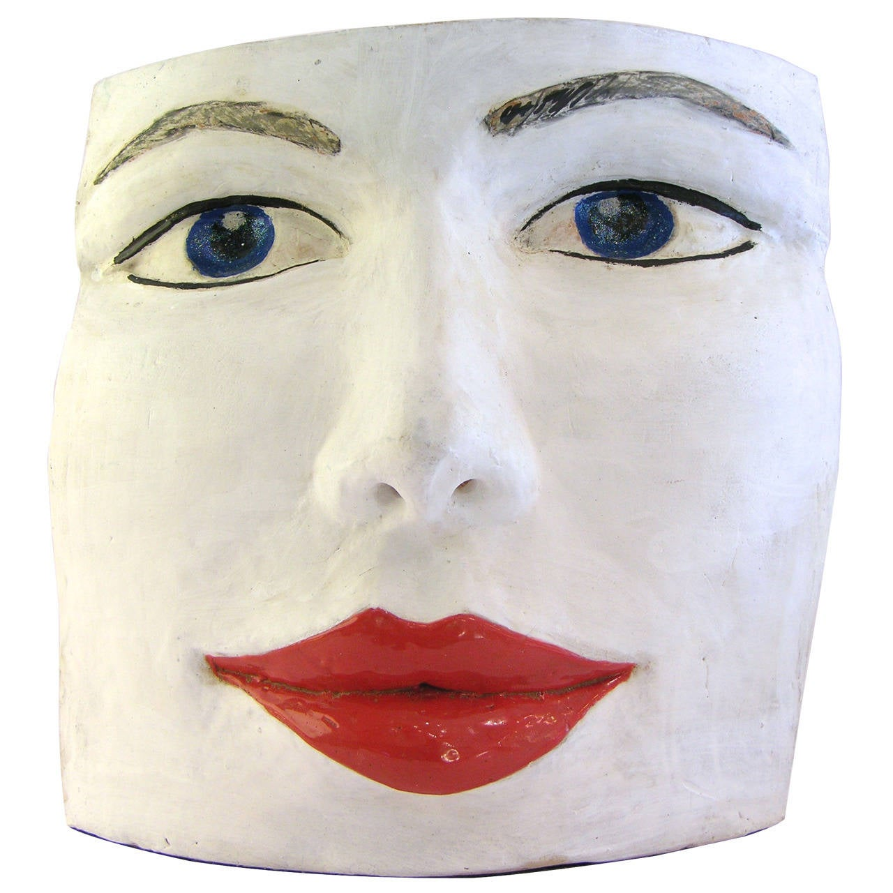 Blue Eyes Face Terra Cotta Sculpture by Ginestroni 1