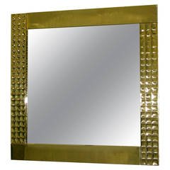 1970 Italian Handcrafted Pair of Brass Mirrors with Gold Jewel-Like Detail