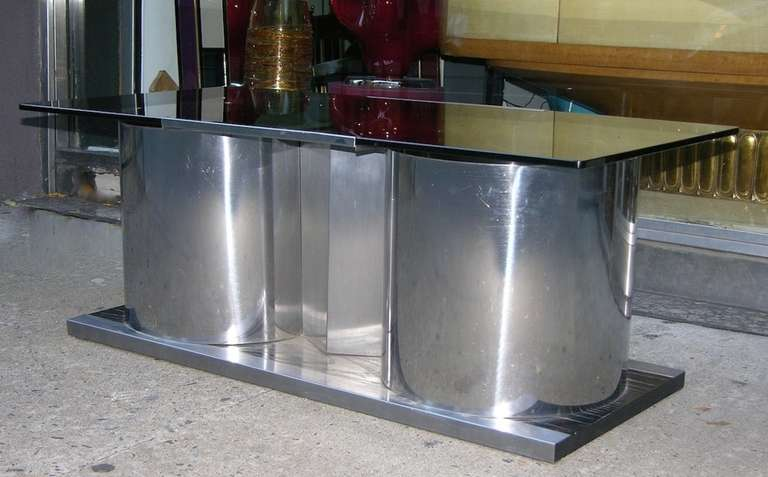 Chrome 1970s Italian Smoked Glass Coffee Table with Dry Bar For Sale