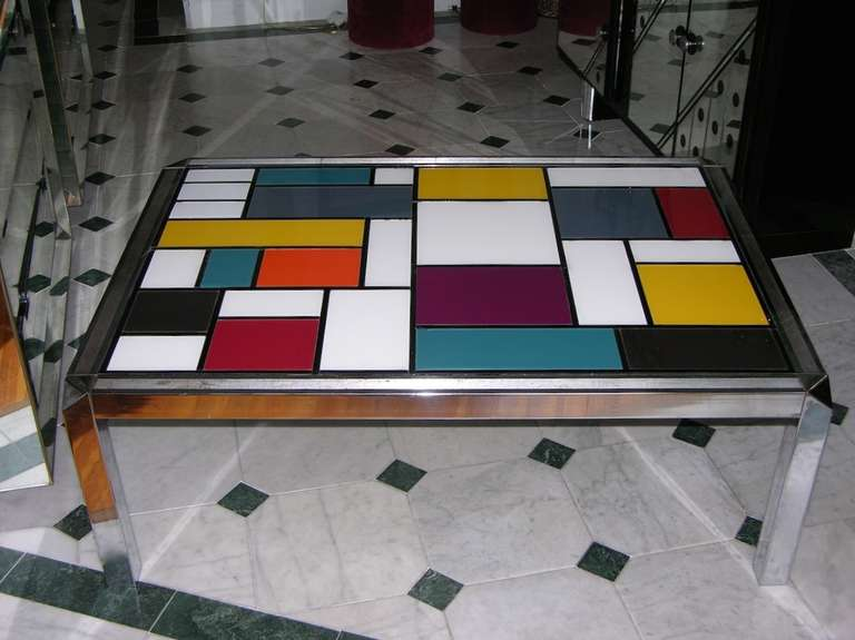 1970s Italian Mondrian Inspired Glass Coffee Table At 1stdibs