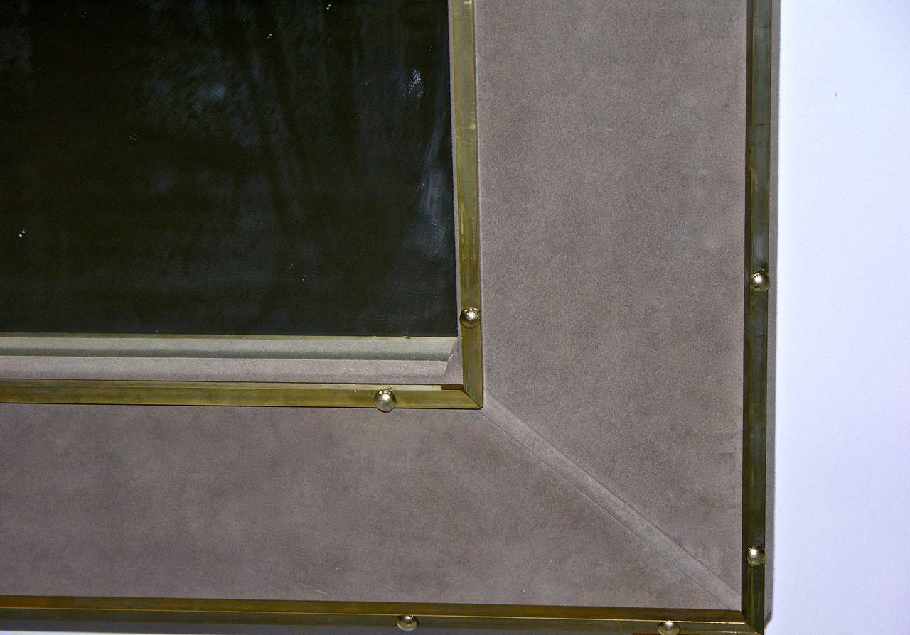 1970s Italian Suede Leather Floor Mirror With Modern