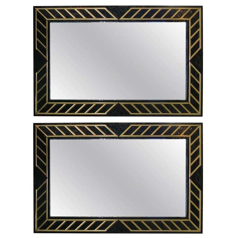 1970s Italian Pair of Art Deco Design Black Glass and Gilt Mirrors For Sale