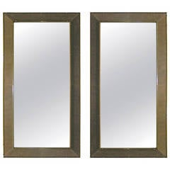 1970s Pair of Italian Suede Floor Mirrors with Bronze Accents