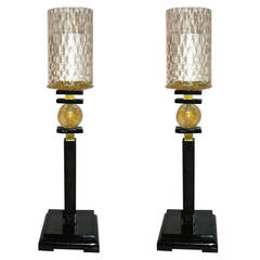 1970s Italian Pair of Art Deco Design Lamps with Murano Glass Shades by Barovier