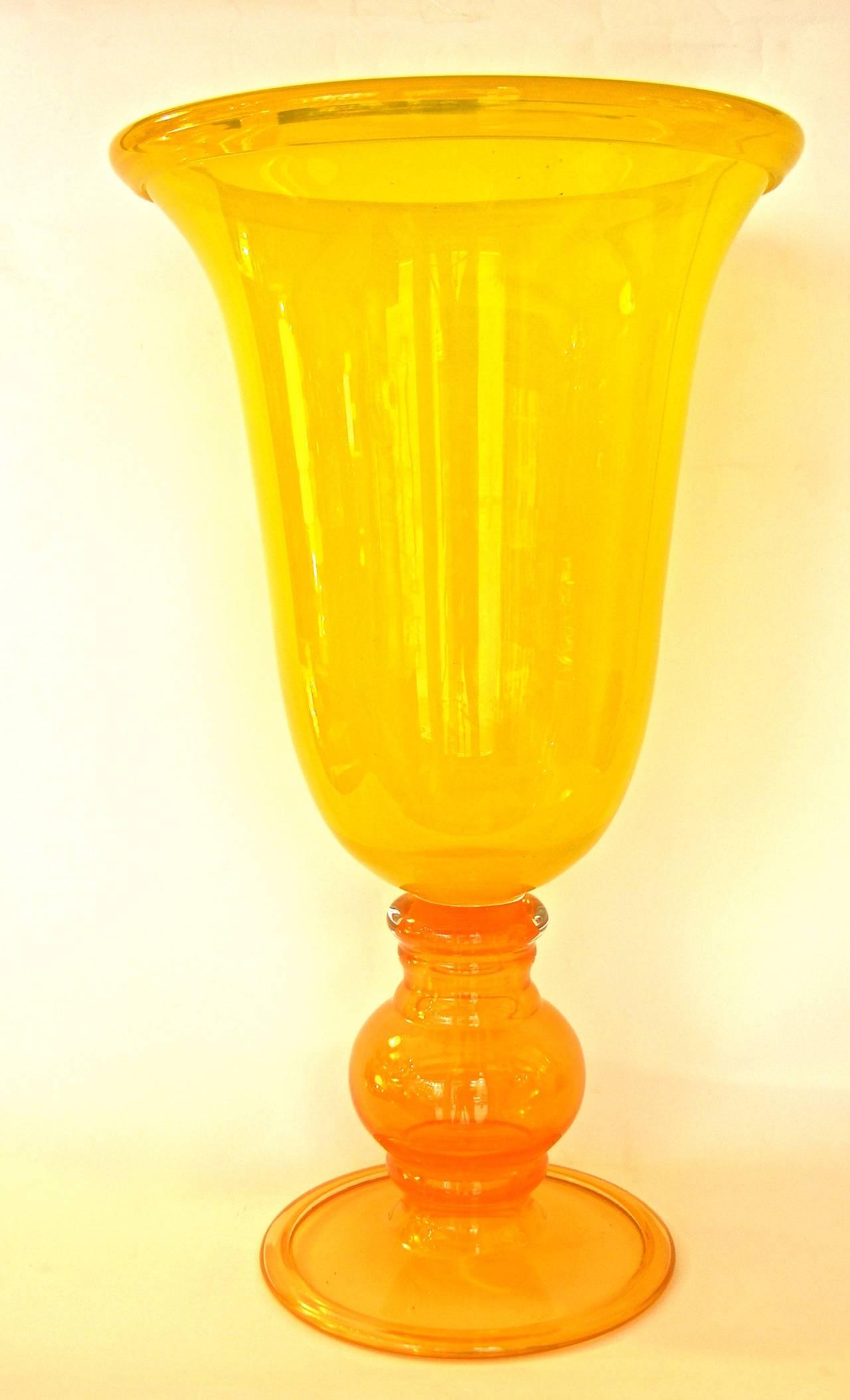 1970s monumental art glass vase in yellow and orange blown for Orange vase