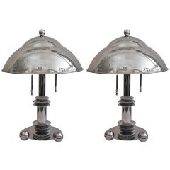 1970s Jay Spectre Vintage Pair of Chromed Lamps with adjustable light intensity