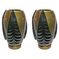 Pair of Pino Signoretto Black and Pure Gold Murano Glass Vases