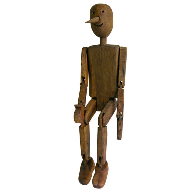 Italian Articulated Wooden Pinocchio Sculpture At 1stdibs