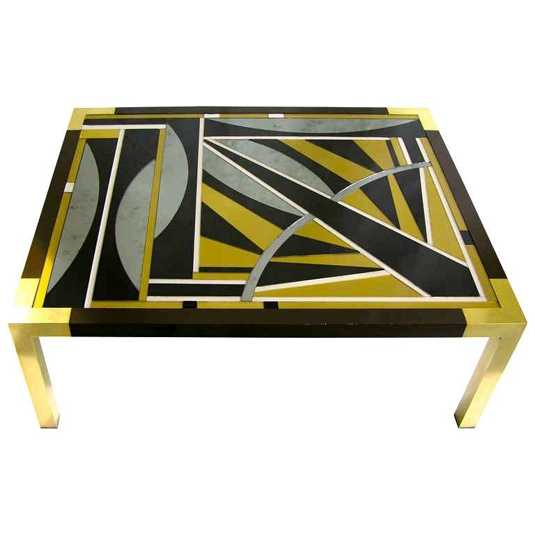 Italian Decorative Bronze And Glass Coffee Table With Geometric Decor At 1stdibs