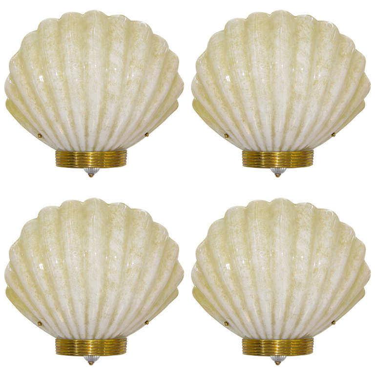 1970s Art Deco Style Vintage Shell Sconces in Gold & White Murano Glass