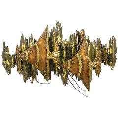 Vintage Brutalist Fish Wall Light Sculpture by Ernie Abdelnour