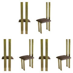 Exceptional 1970s Italian Design Set of Six Sculptural Chairs by Sandro Petti