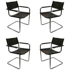 1970s Italian Set of 4 Chromed Armchairs By Matteo Grassi With Original Leather