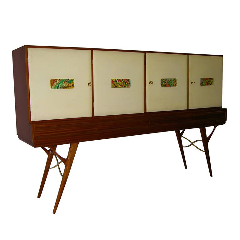 1960s Elegant Italian Vintage Cream Parchment and Majolica Cabinet/Buffet