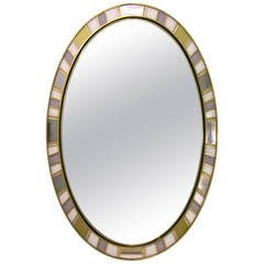 1970s Refined One-of-a-Kind Italian Oval Mirror