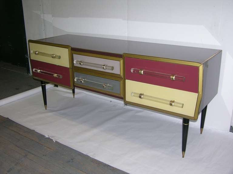 1960s Rare Italian Playful Sideboard/Console with Six Drawers 2