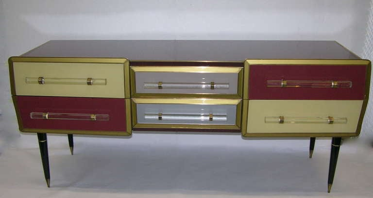 1960s Rare Italian Playful Sideboard/Console with Six Drawers 3