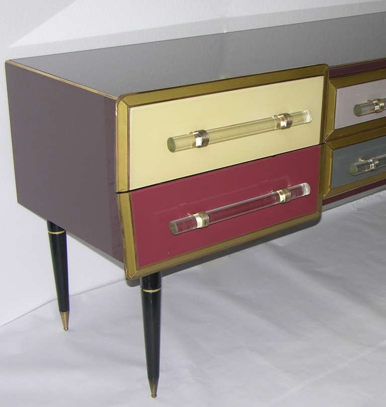 1960s Rare Italian Playful Sideboard/Console with Six Drawers 4