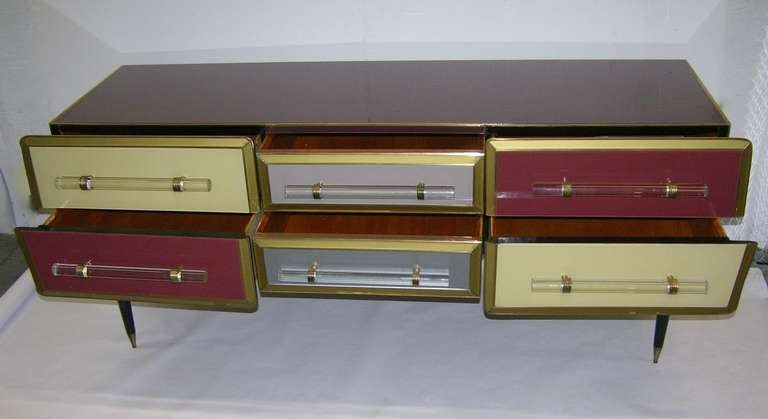 1960s Rare Italian Playful Sideboard/Console with Six Drawers 9