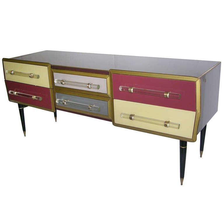 1960s Rare Italian Playful Sideboard/Console with Six Drawers 1