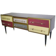 1960s Rare Italian Playful Sideboard/Console with Six Drawers