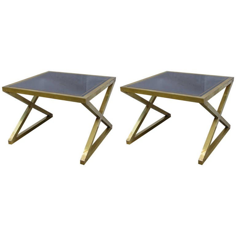Italian Pair Of Modern X Frame Handcrafted Bronze And Black Low Coffee  Tables For Sale