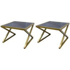 Italian Pair of Modern X-Frame Handcrafted Bronze and Black Low Coffee Tables