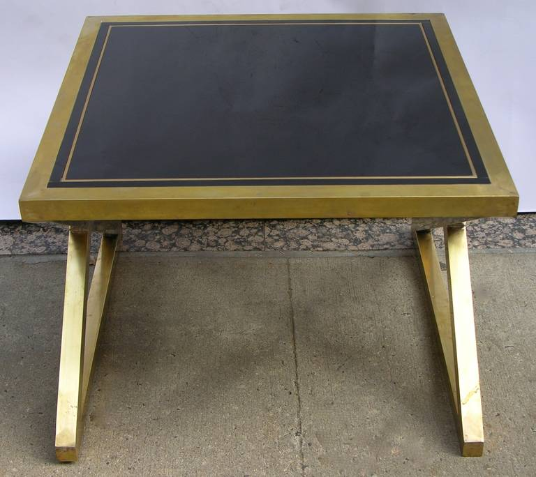 Italian Pair Of Modern X Frame Handcrafted Bronze And Black Low Coffee Tables For Sale At 1stdibs
