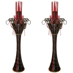 1980s Italian Modern Black and Red Murano Glass Pair of Fountain Floor Lamps