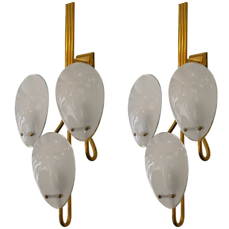 Crystal Art 1950s Refined Italian Oval Glass Wall Lights at 1stdibs