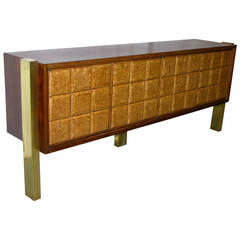 1940s Minimalist Dark & Light Wood Cabinet / Sideboard on Brass Legs