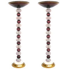 1970s Rare Italian Pair of Amethyst Murano Glass Floor Lamps