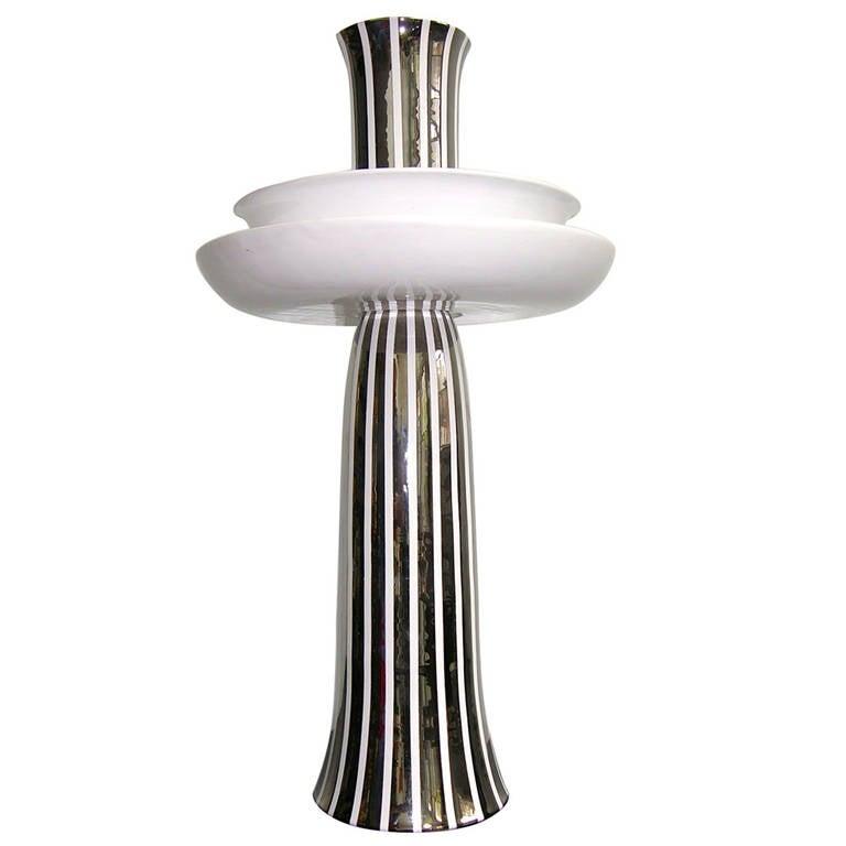 Ceramic Gatti Unusual Reversible Centerpiece / Vase Decorated with Pure Platinum
