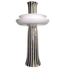 Ceramic Gatti Unusual Reversible Centerpiece / Vase Decorated with Pure Platinum