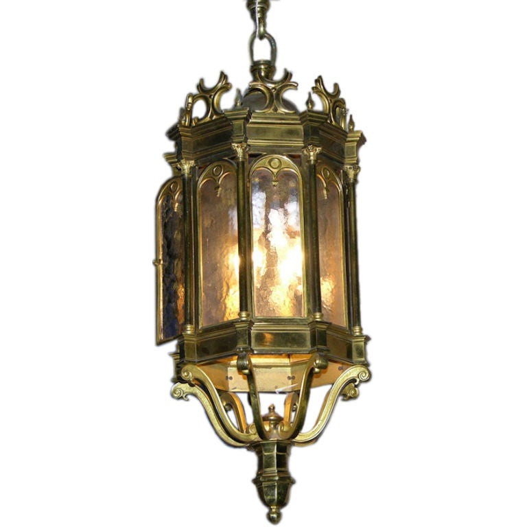 19th Century 1860 French Antique Neoclassical Brass Lantern