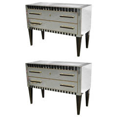 1970s Italian Pair of Vintage Mirrored Chests / Side Tables with Black Accents
