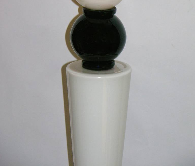 Alberto Dona Monumental Art Deco Black and White Murano Glass Table/Floor Lamps For Sale 4