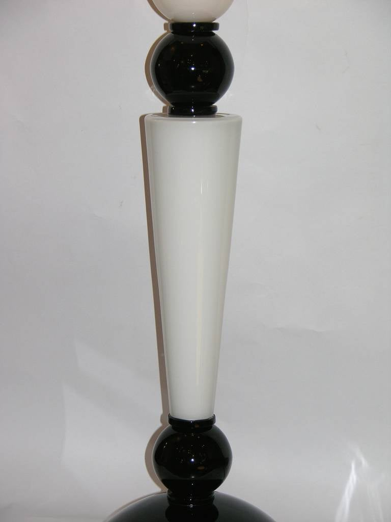 Alberto Dona Monumental Art Deco Black and White Murano Glass Table/Floor Lamps For Sale 1