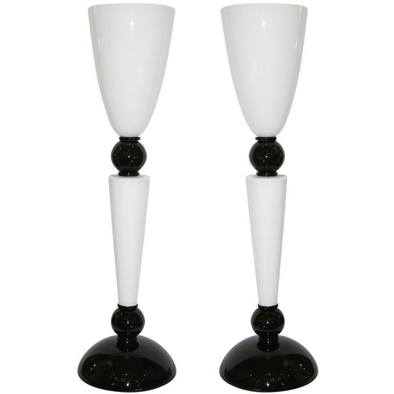 Alberto Dona Monumental Art Deco Black and White Murano Glass Table/Floor Lamps For Sale
