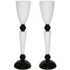 Alberto Dona Monumental Art Deco Black and White Murano Glass Table/Floor Lamps