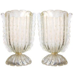 Vintage Pair of Murano Glass Table Lamps Worked With Pure Gold