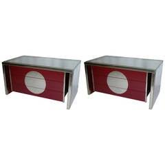 Vivai del Sud Rare 1970s Italian Pair of Freestanding Chrome End Tables