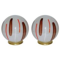 Venini 1970s Pair of Big Round Pulegoso Murano Glass Lamps