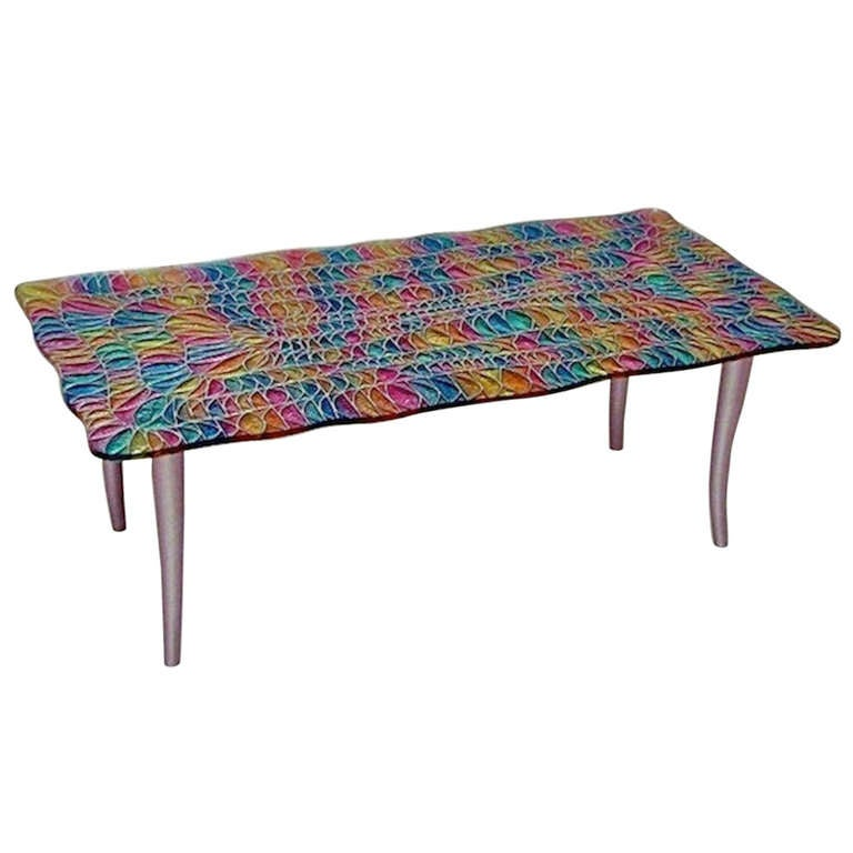 1970s Studio Davico Colorful Italian Design Glass Coffee Table At 1stdibs