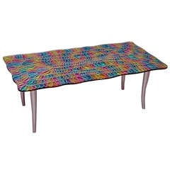 1970s Studio Davico Colorful Italian Design Glass Coffee Table