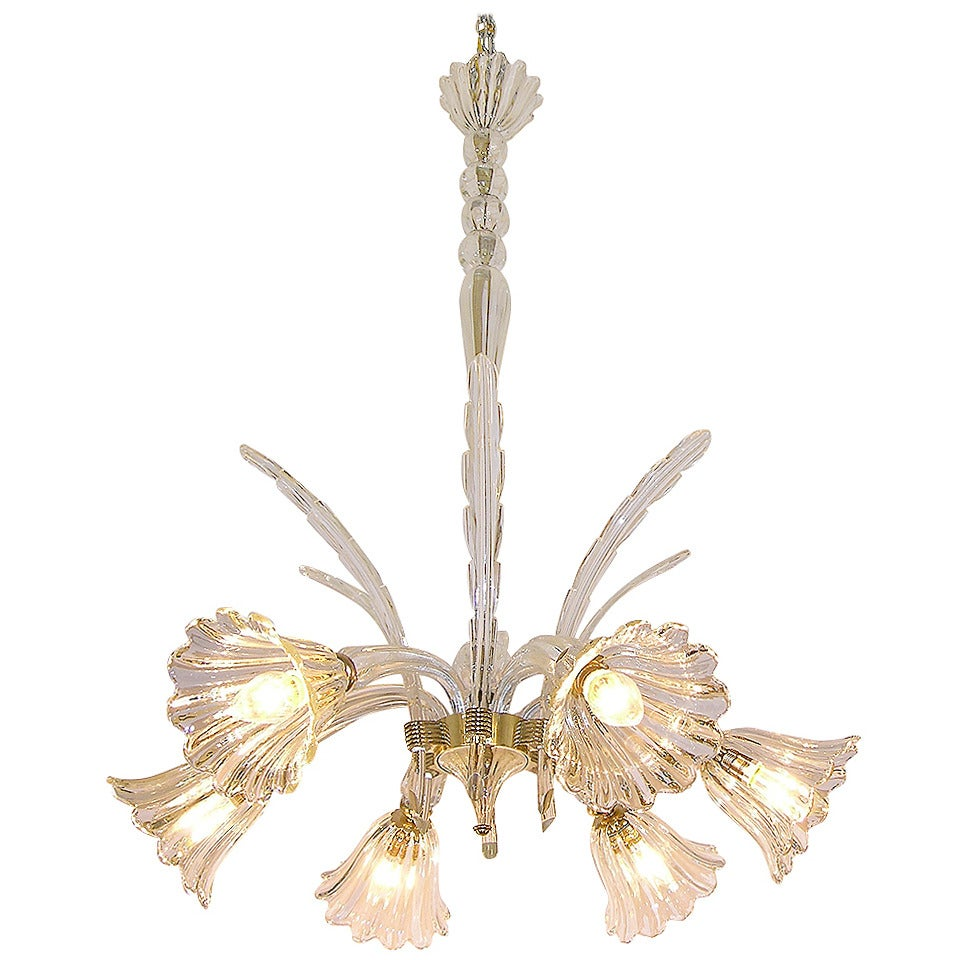 1930s Ercole Barovier Six-Light Crystal Clear Murano Glass Chandelier