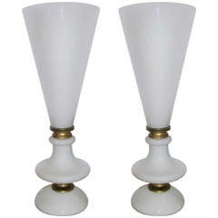 1960s Rare Pair of Flared Lamps/Torcheres in Opaline White Glass by Venini